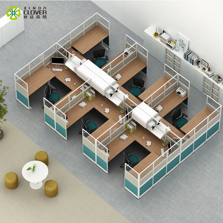 Modern office furniture design standard size panel system dividers aluminum partitions office cubicle table workstation