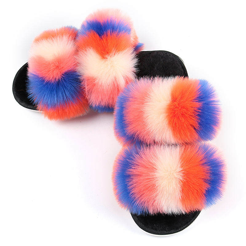 Wholesaling Rainbow Indoor Household Use Double Strap Furry Faux Fox Fur Slippers for Women