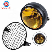 "Motorefit Universal Motorcycle 6 1/2"" Amber Headlight + Headlamp Cover Mesh Grill Cafe Racer Bobber"