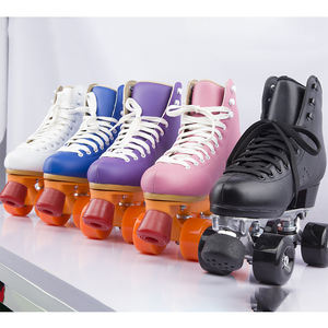 Wholesale rental roller skates Colorful high quality leather 4 Pu wheels roller skates ice or skates rink popular