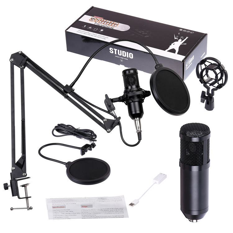 Foldable Mic Condenser Microphone Pro Audio Studio Sound Recording Arm Stand Filter