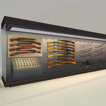 Customize military museum showcase glass gun display cabinet