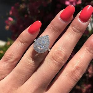CAOSHI New Style Luxury Pear Shape Zircon Engagement Wedding Ring For Women Finger Engagement Ring Silver