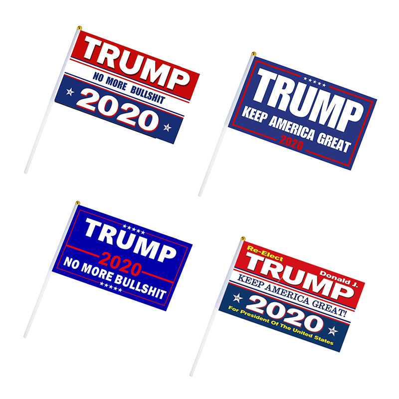 Ready to ship 14X21cm USA 2020 Presidential Election 100% polyester Trump Hand flag with Stick