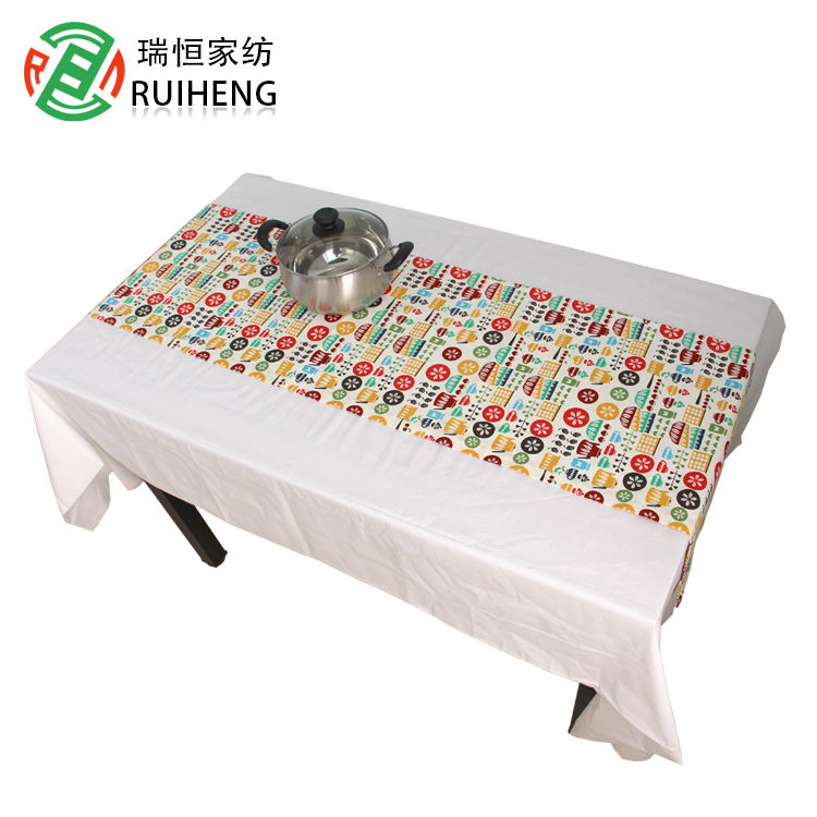 polyester/Cotton printed christmas table cloth plastic roll banquet clothes new design