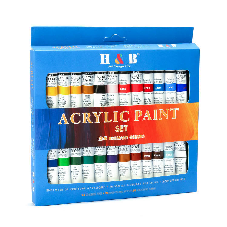 24 colors 12ml wholesale art acrylic paint set