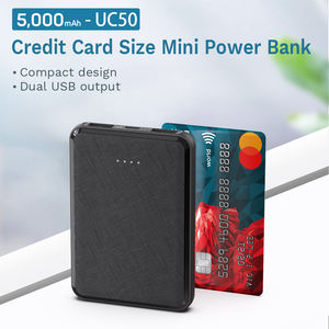 Free Sample Mini Slim Dual USB Small Card 5000mAh Power Bank For Gift