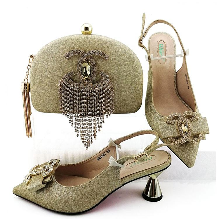 1308-50 gold low heel rhinestones ladies shoes and bags / new design shoes and matching bags