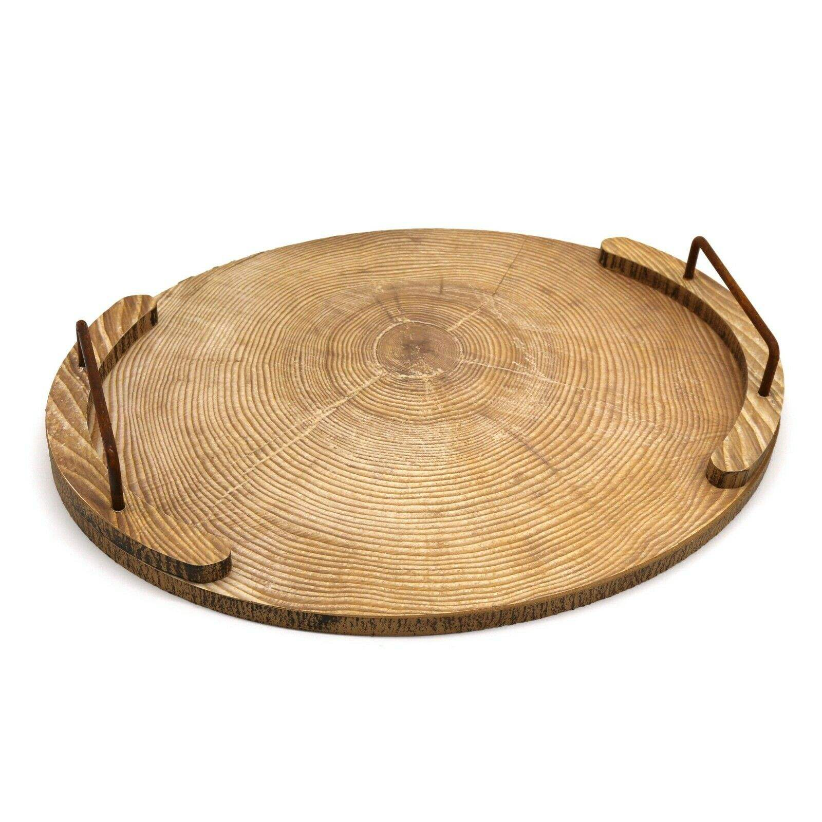 Oval Wooden Tray with Metal Handle Tea Table Tray Restaurant Accessories