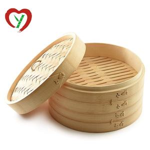 Dumpling Mini 10 inch Steel Bamboo Basket Steamer 2 Tier For Restaurant