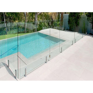 frameless glass fence/handrails with tempered glass fence panel for swimming pool spigot 2205 stainless steel handrail