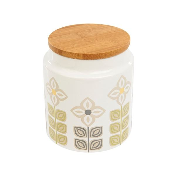 Decal Floral Ceramic Storage Jar mit Wooden Lid