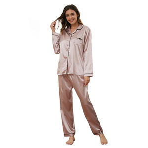 2020 Spring / Autumn Wholesale New Design Button Pajamas Factory Price Pyjamas Satin Two Piece Set Silk Women Pajamas