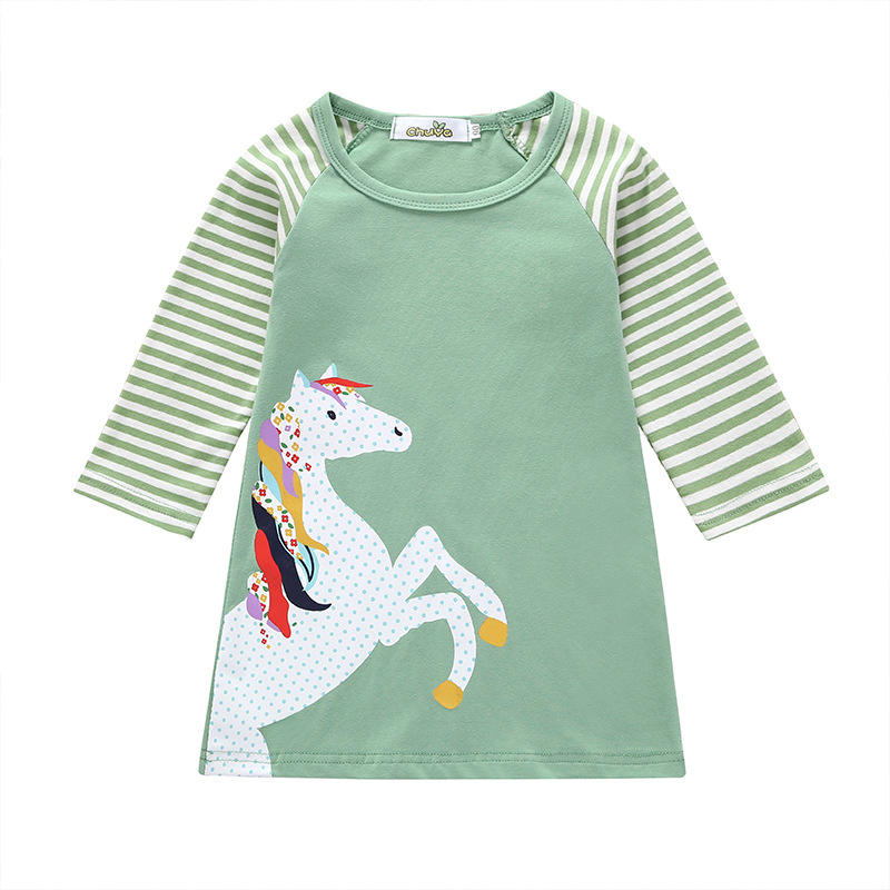 China Supplier Online Shopping Wholesale Korean Style Cheap Spring Cartoon Dresses For Girl