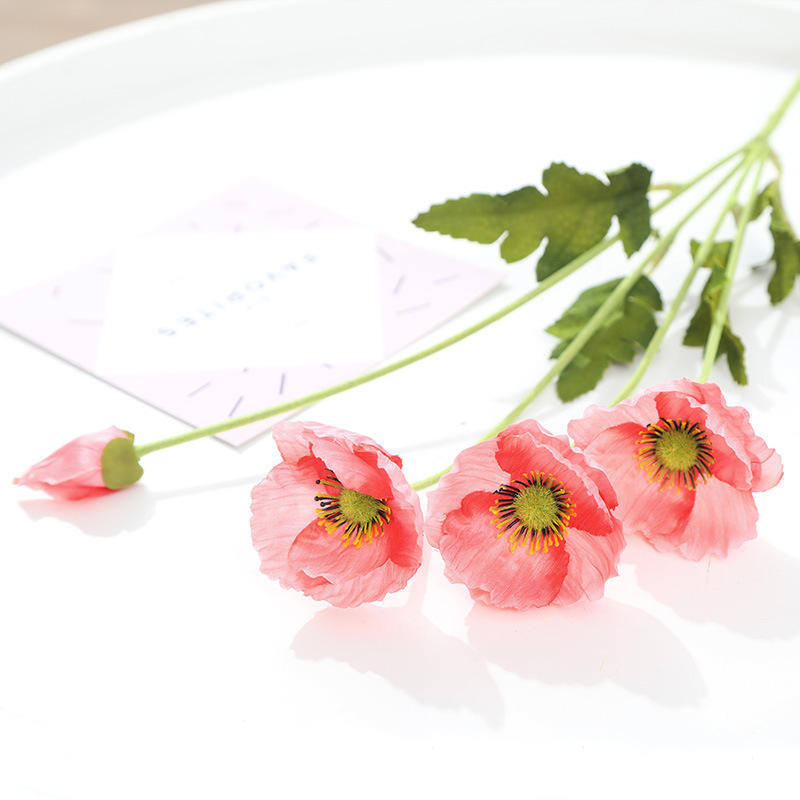 Wholesale Silk Poppy 3 Heads Artificial Long Stem Flowers