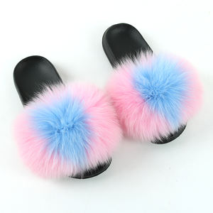 Real Fox fur slides slippers flip flop faux thong