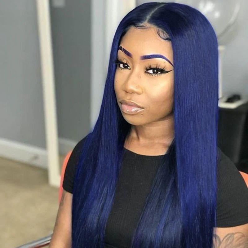 JRX Wholesale Vendors Straight Or Body Wave Dark Blue Colorful Human Hair Wigs Pre Plucked 13x4 Lace front Wig For Black Women