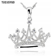 white gold plated 925 sterling silver cubic zirconia princess queen bridal crown pendant necklace jewelry CY617