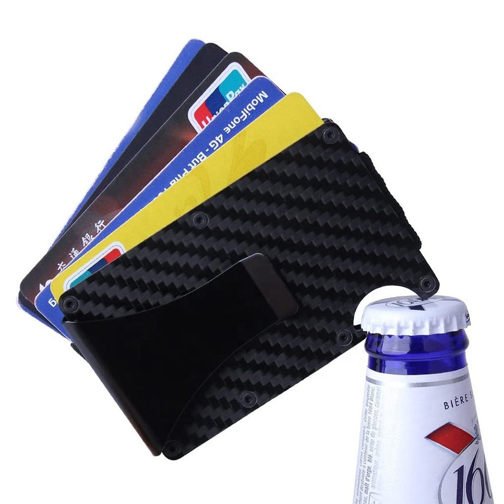 2020 New Minimalist RFID Blocking Carbon Fiber Money Clip Wallet with Bottle Opener Metal Credit Card ID Holder