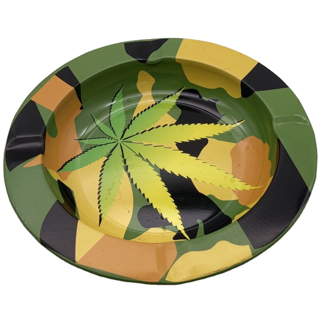 tobacco leaf with camouflage color ashtray D130 *20mm portable ash tray fashion customize art work metal cigar tray