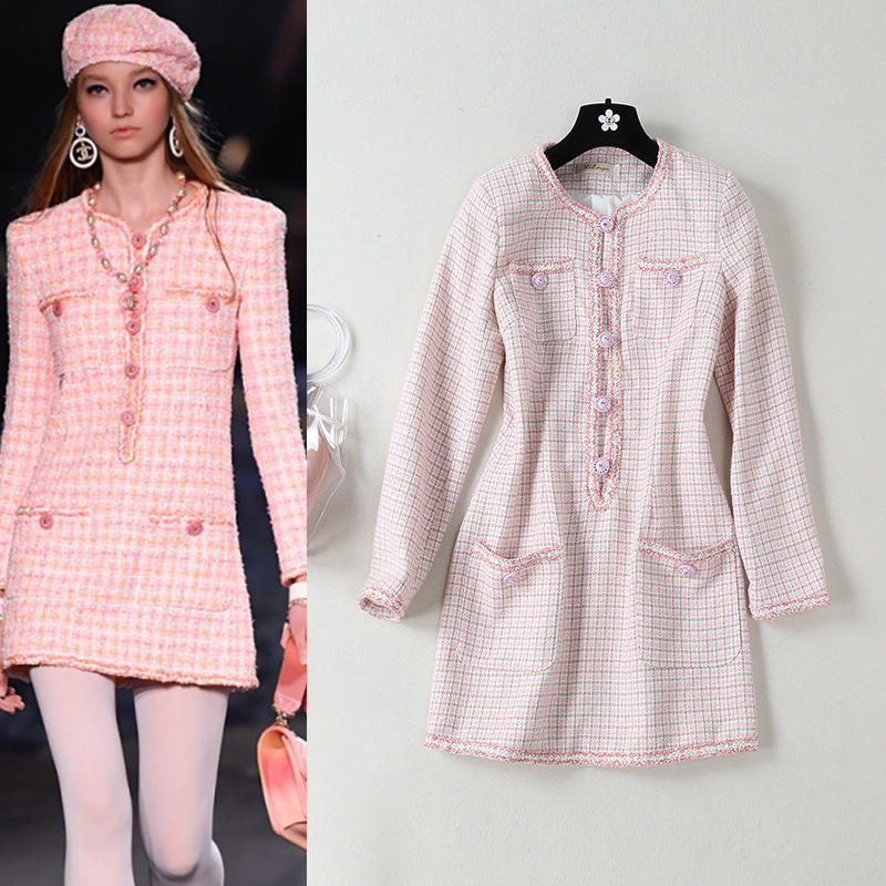 Elegant graceful slim 2019 fall new design casual fashion a line crew neck high quality women long sleeve pink color dress