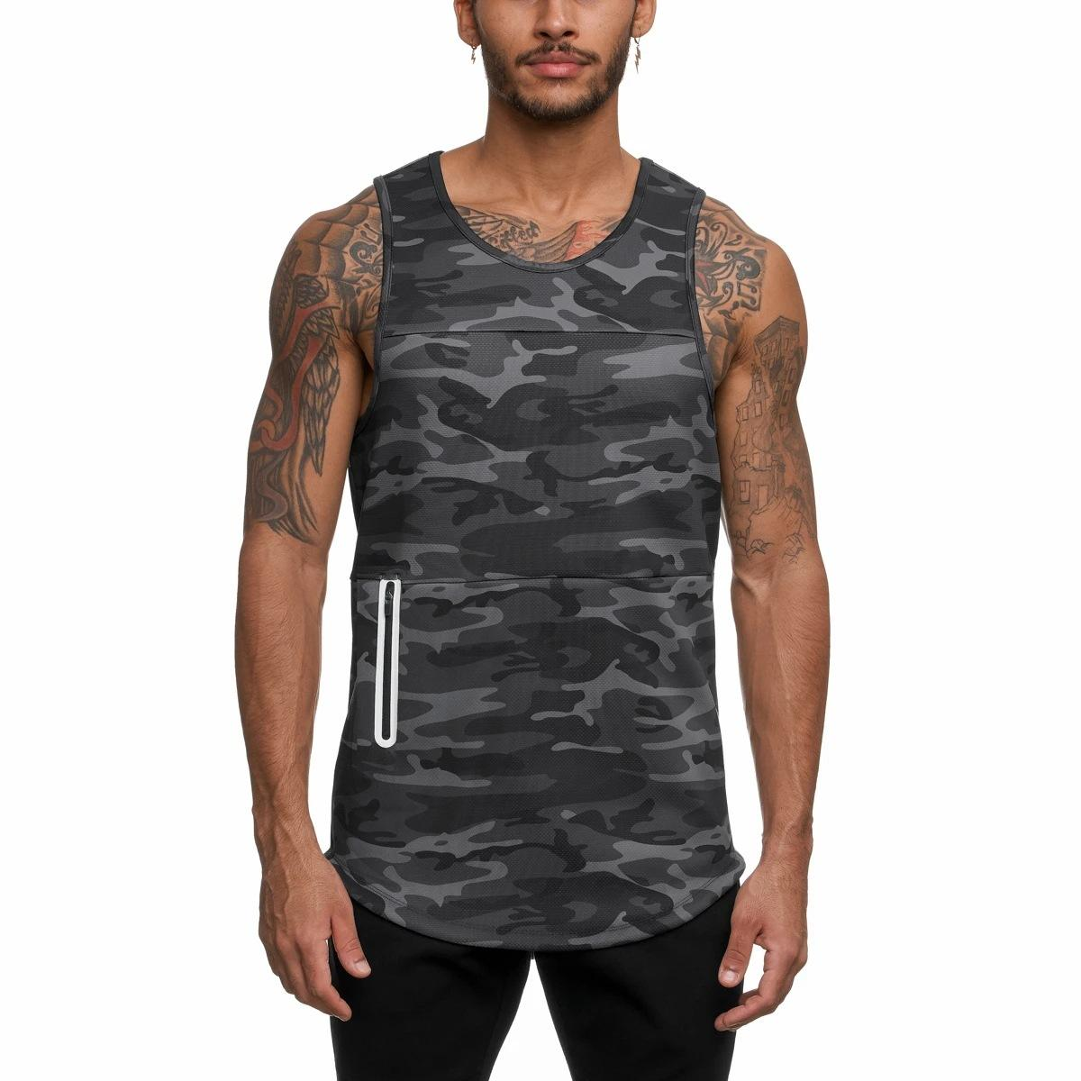 Wholesale Custom Logo Size and Color OEM Men Gym Vest Sport Singlets with Pocket Mens Tank Top