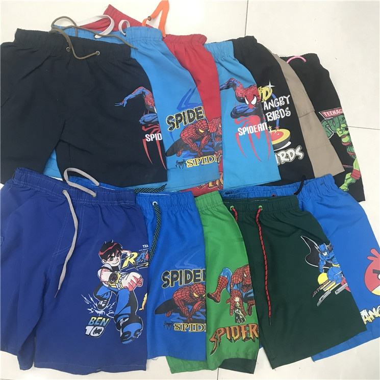 0.91 Dollar BK066 2019 new arrival high quality cheap price ready made cartoon kids boys gym shorts, boxer shorts, board shorts