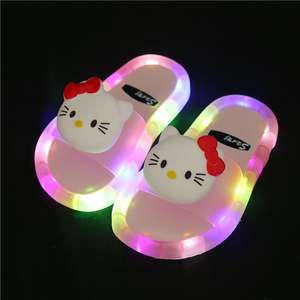 Children leisure luminous baby children slippers girls boys baby plastic cute animal cartoon shape wholesale led slippers