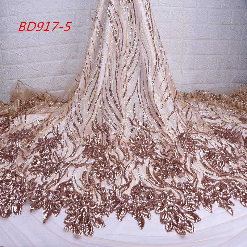1737 Shining French Tulle Lace Fabric Gold Sequin Lace Fabric For Dress