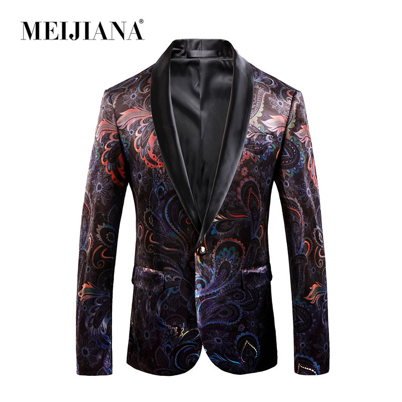 MEIJIANA New Arrival Male Performance Suit Jackets Dragon Print One Button Casual Style Slim Fit Blazer Spring Autumn Men