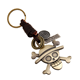 Fashion Punk Style Men's Charm Key Holder Vintage Genuine Leather Braid Metal Skull Keychain Key Chain