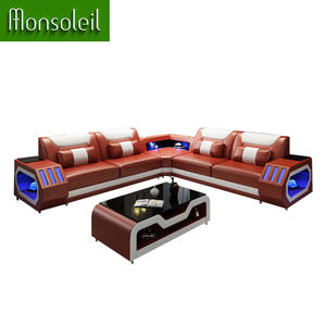 Luxury Europe couch living room sofas American Popular modern genuine leather sofa with LED light