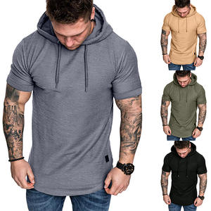 Best Sale High Quality Plus Size Men Sport Fitness Plain Pullover Short Sleeve Hoodie