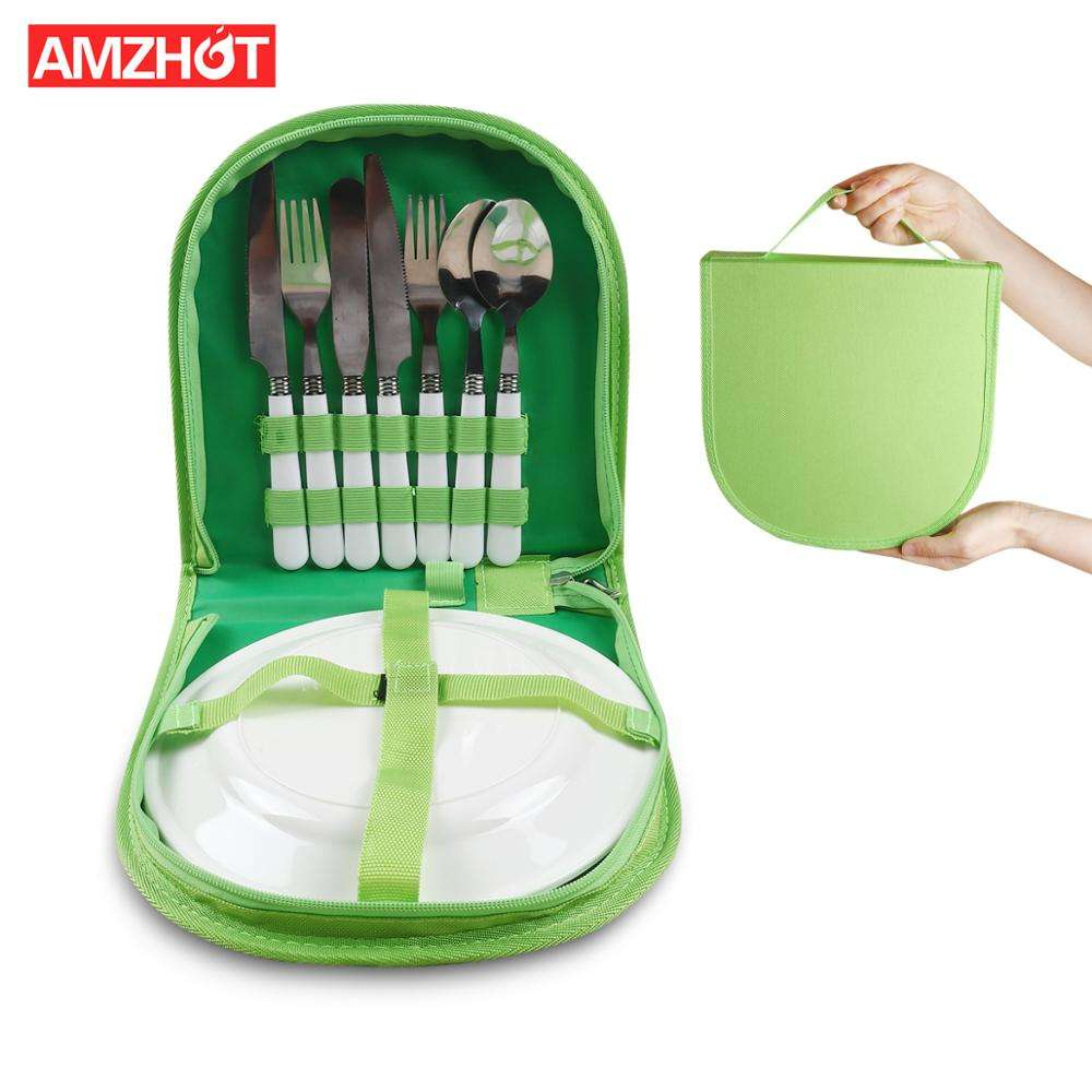 R01-0033 Portable Camping Stainless Steel Kit Cutlery Organizer Utensil Picnic Bag Set