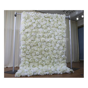 LFB1092 New design wedding 3D cloth back white peony rose flower wall roll up floral wall