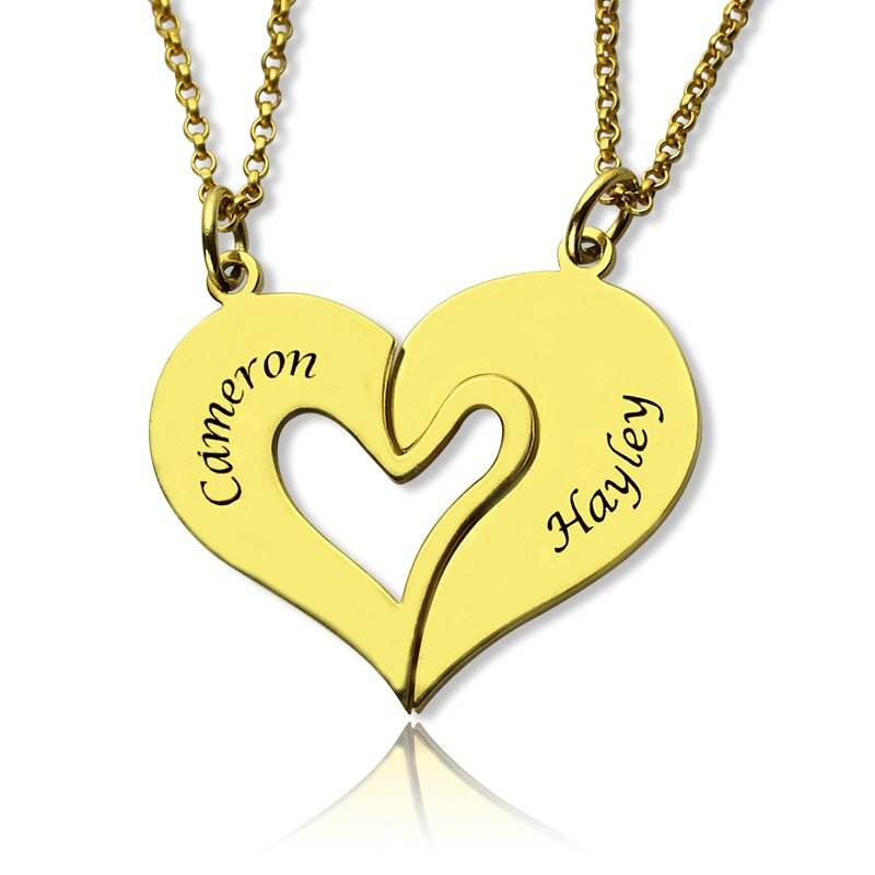 Stainless Steel Gold Plated Personalized Double Name Heart 2 half Heart Necklace Bestfriends Necklace Couple Necklace