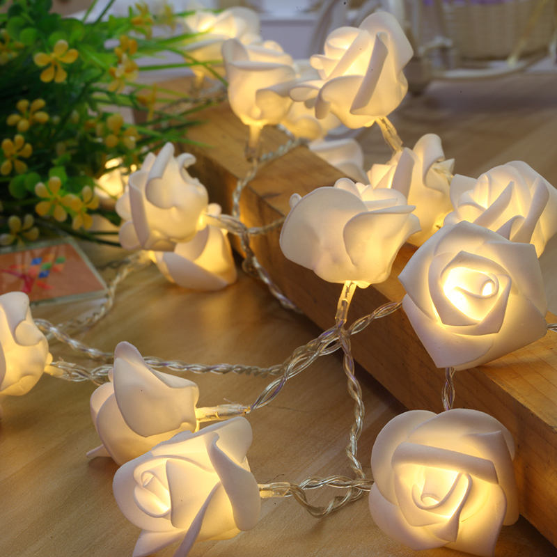 LED Lover Garlands Rose Flower Fairy String Lights Romantic Wedding Party