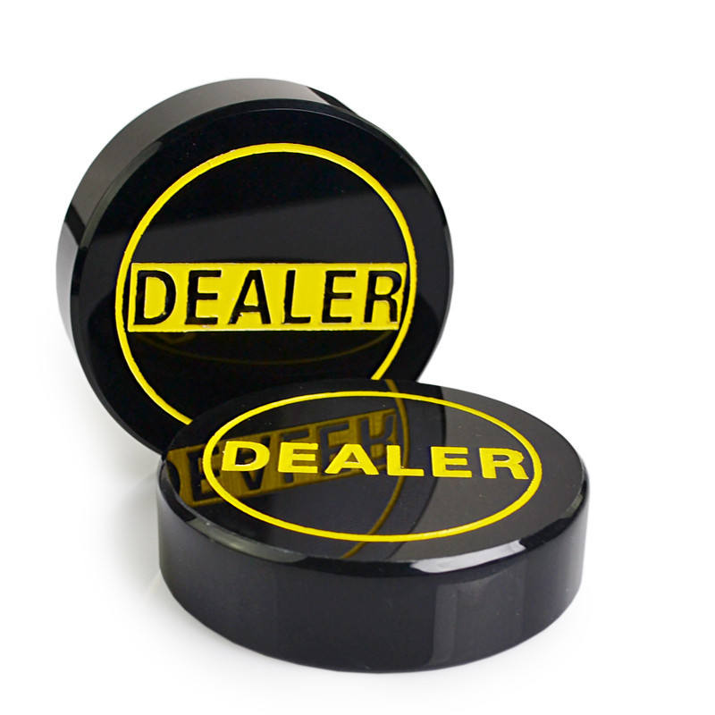 1PCS Acrylic Dealer Button Texas Hold'em 3 inch Pressing Poker Cards Guard poker Dealer Button-Black Dealer