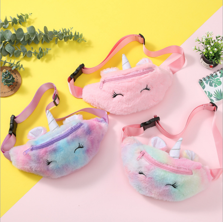 2020 Fashion Children Plush Unicorn Waist Bag Unicorn Crossbody Cute Rainbow Pink Kids Fanny Pack
