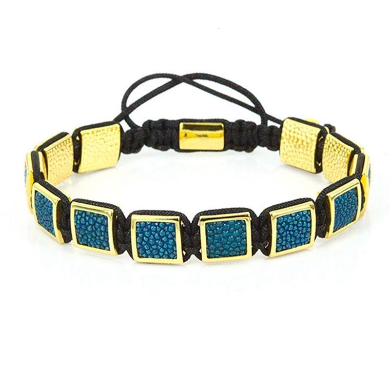 High quality colored alligator skin square beads macrame bracelet