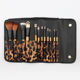 Professional 12 Pcs Synthetic Hair Wood Handle Makeup Brush Set with Leopard case
