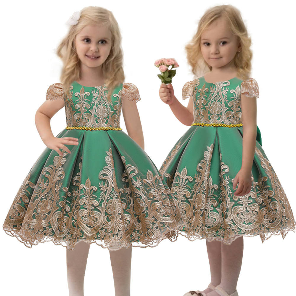 High quality Baby Princess Dress Baby Dress Bowknot Luxury Baby Dress With Lace 7933