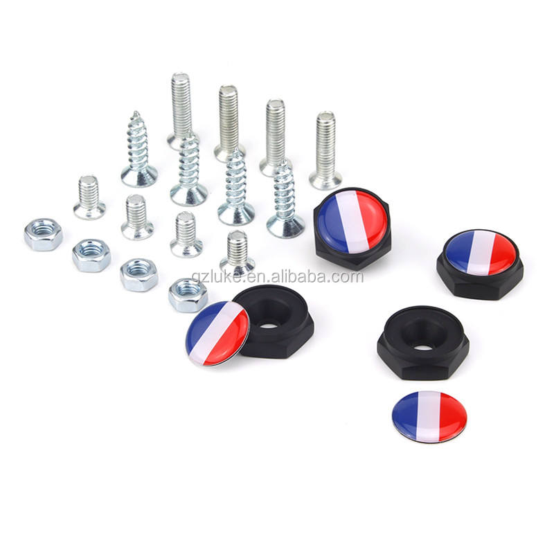 Car Exterior Accessories License Plate Frame Bolts Nut Germany Flag Metal License Plate Screws