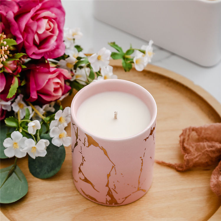 Wedding favor unique design luxury pink porcelain marble candle jar for home decor