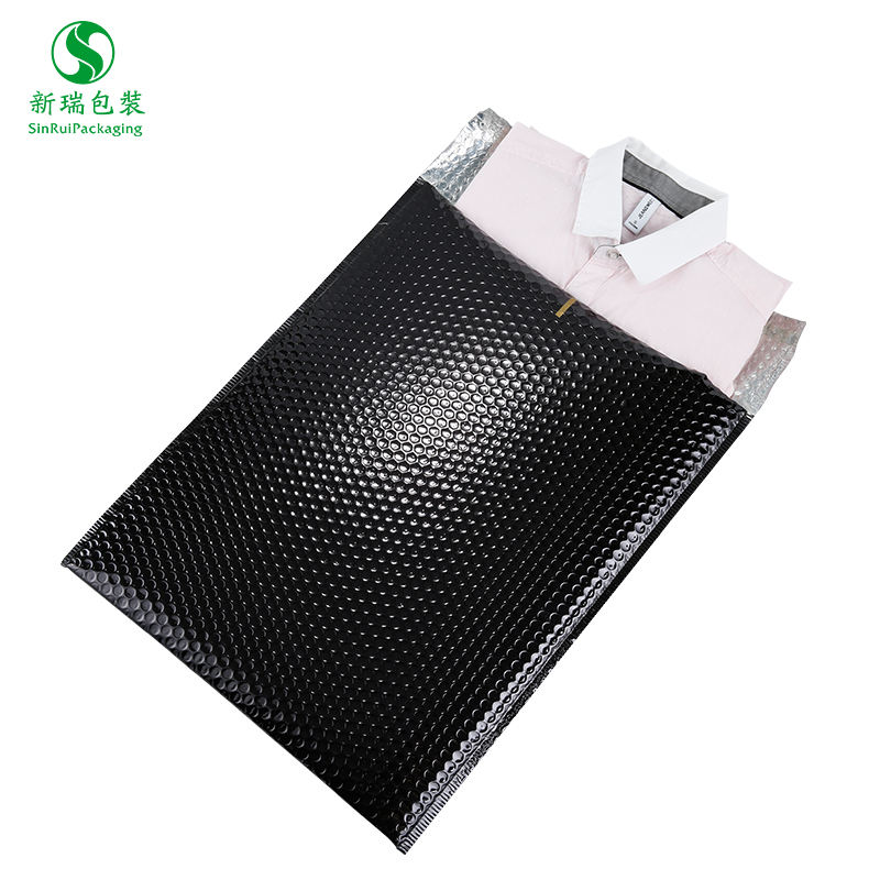 150*150+40mm Glossy black poly packages shipping mailer bubble envelope wrap metallic postage mailing bags