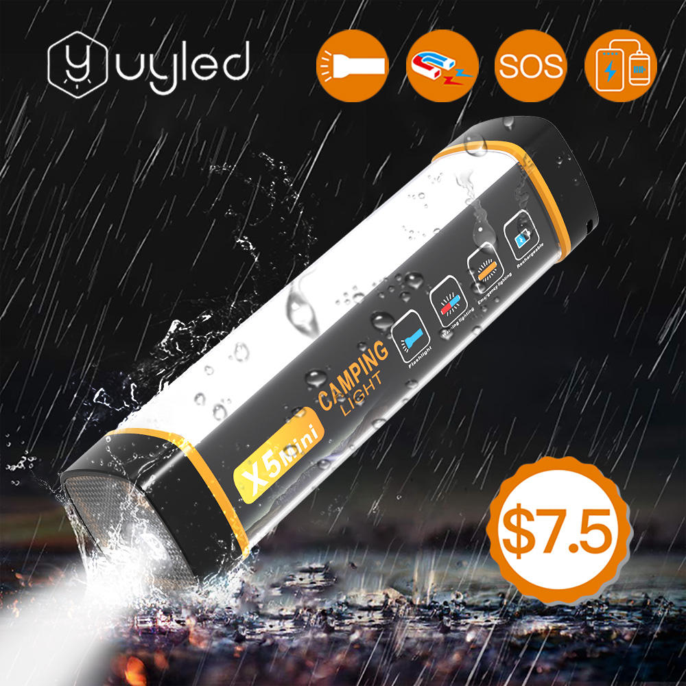 UYLED 2020 New Product X5 Mini Waterproof IP65 Power Bank Mosquito Repellent Magnetic Rechargeable Flashlight LED Camping Light