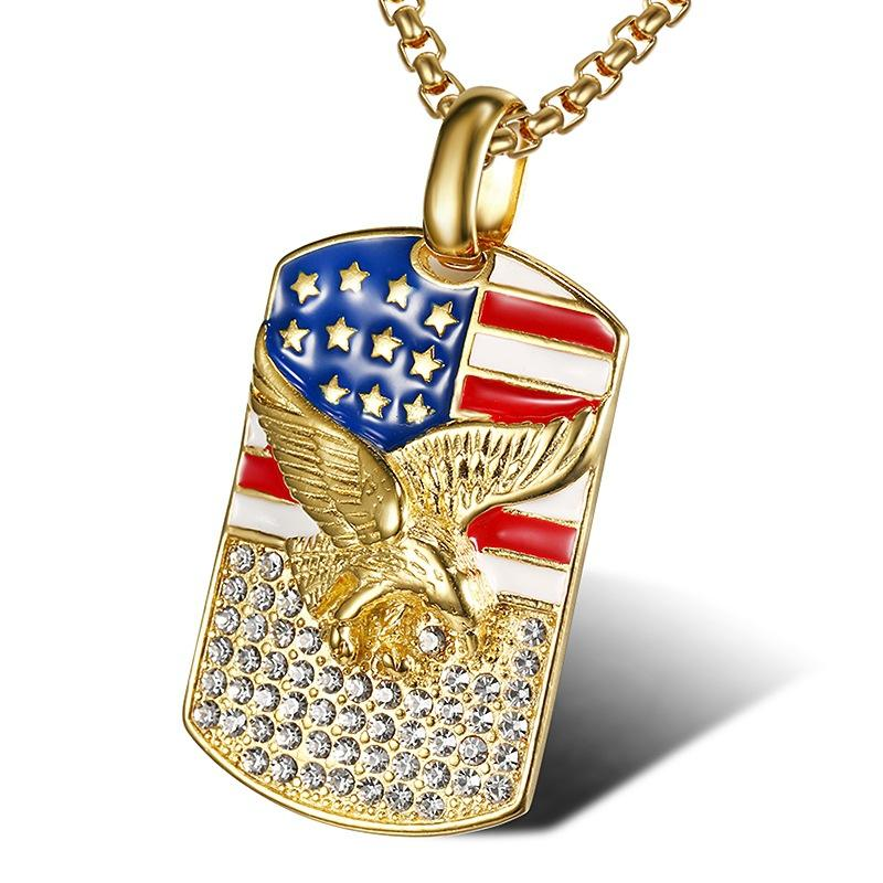 316L Goud USA Nationale <span class=keywords><strong>Vlag</strong></span> heren Rvs Crystal Eagle Hanger Hip Hop Sieraden