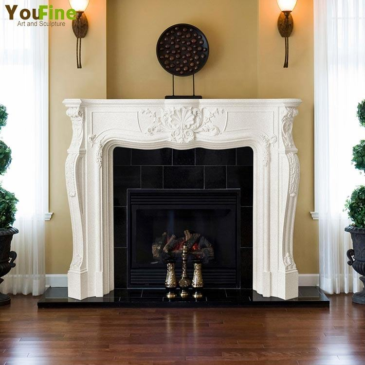 Indoor western style fireplace mantel