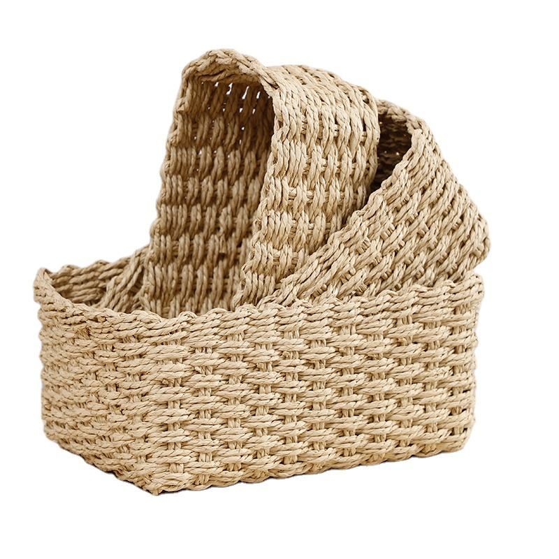 Set of 3 Woven Storage Baskets, Recycled Paper Rope Bin Organizer Divider for Cupboards Drawer Closet Shelf