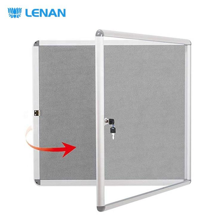 Aluminum frame wall mounted lockable bulletin cork board enclosed acrylic glass doors fabric notice board with lock